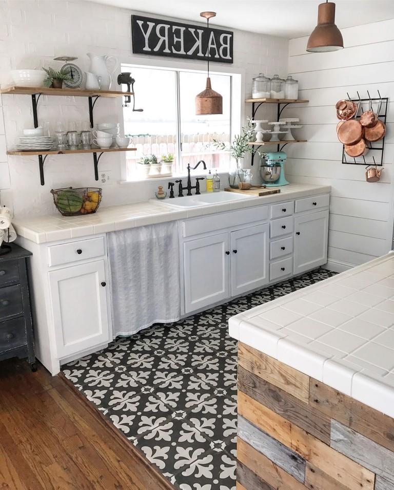 40+ Elegant Black And White Floor Tile For Your Kitchen ...